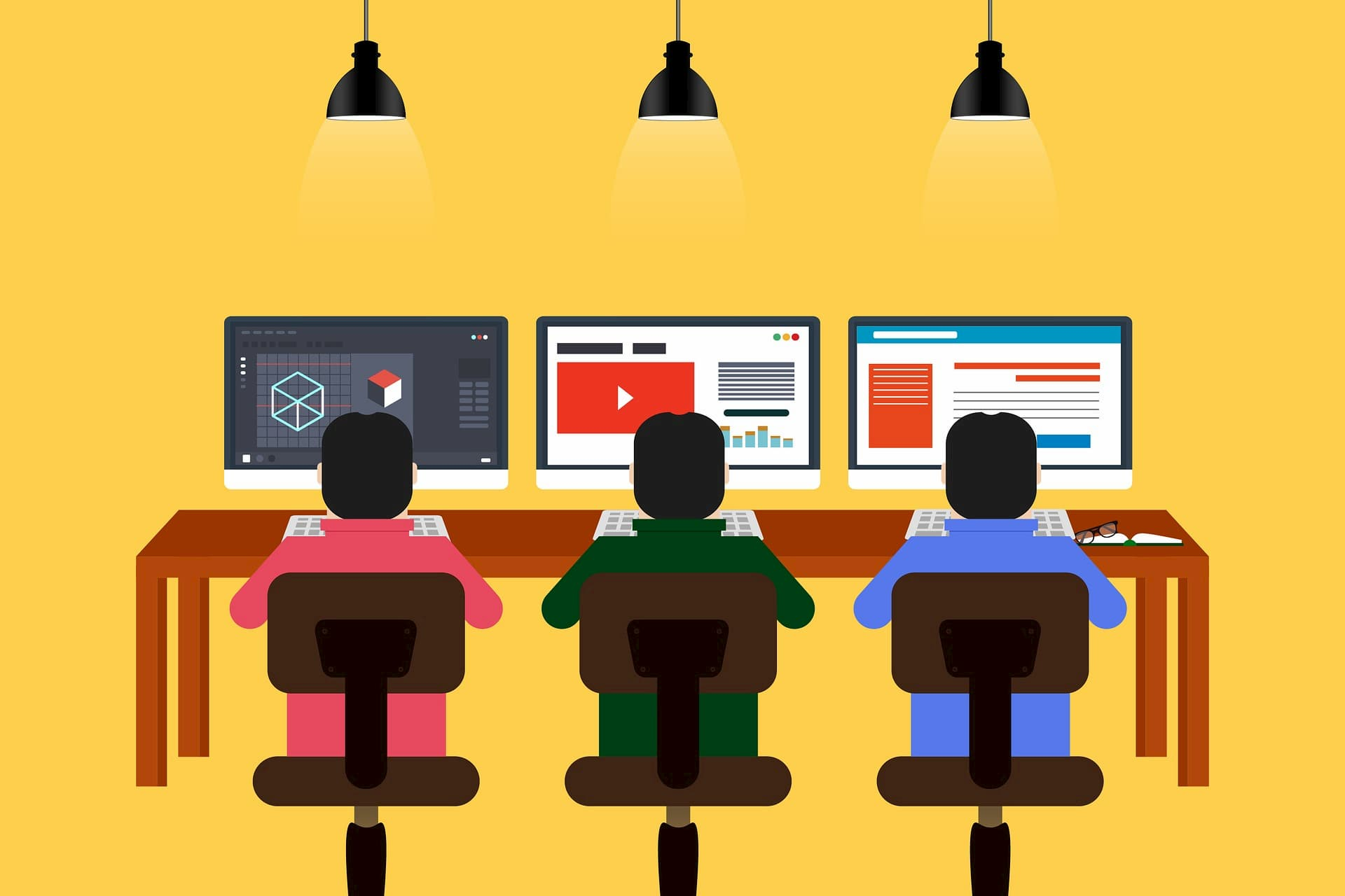3 programmers sitting in front of their computers